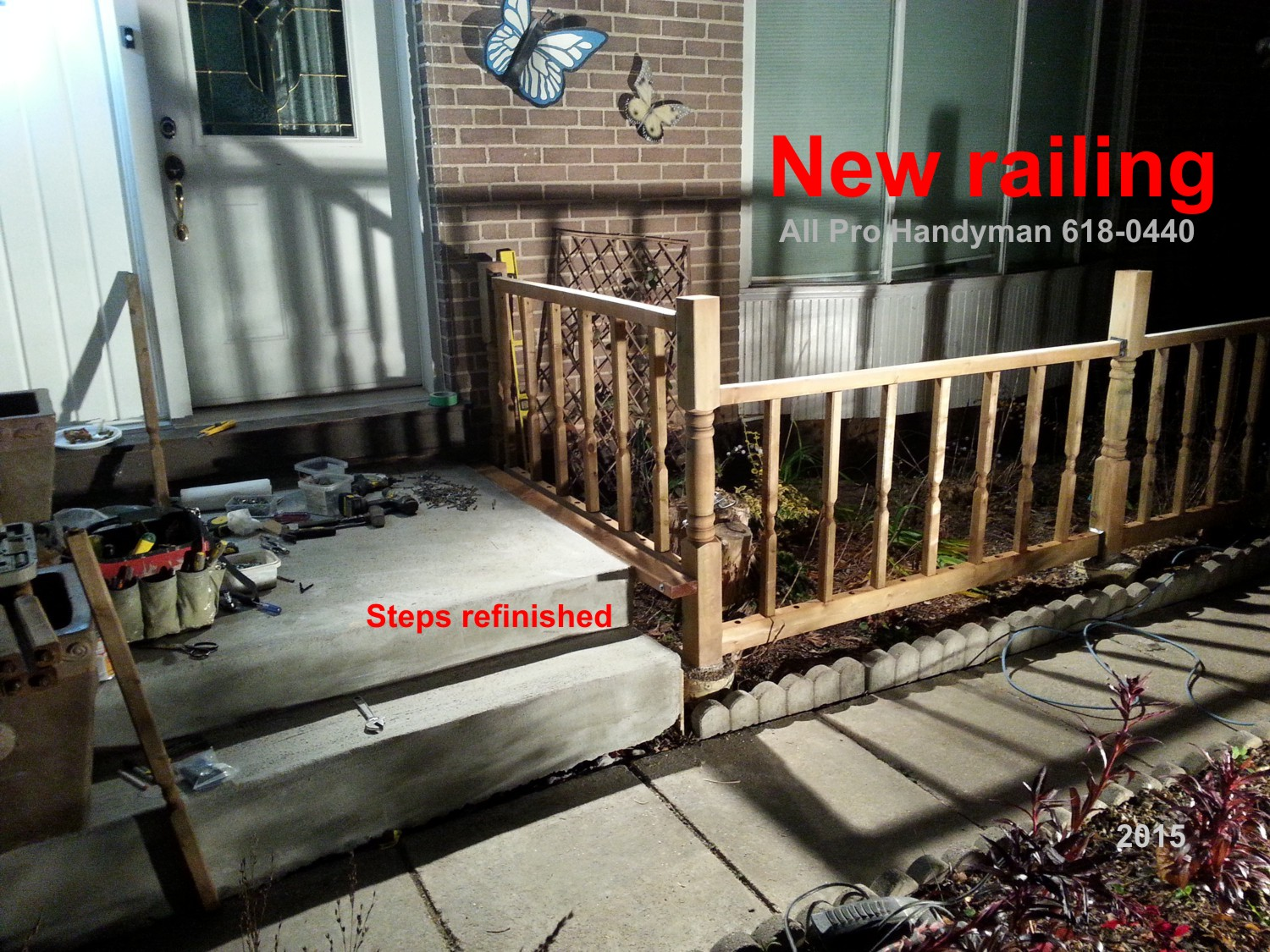 New railing, refinish steps